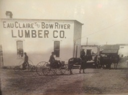 A photo of the lumber company in 1885